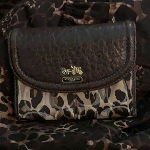 Coach small wallet leopard print